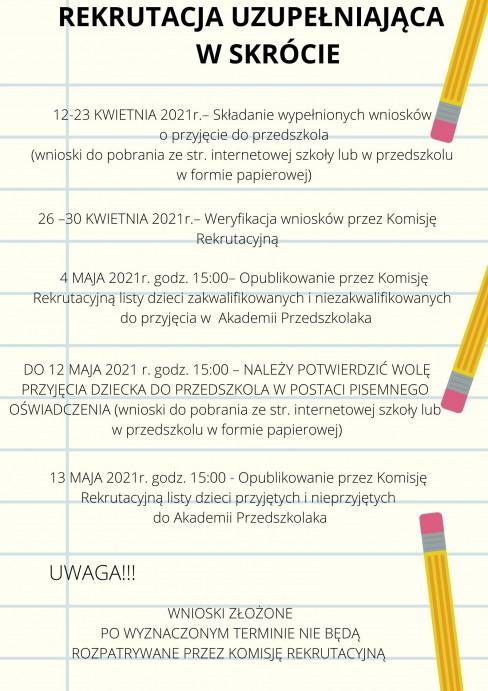 Rekrutacja uzupełniająca w skrócie - pdf